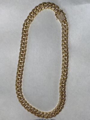 18K Gold Plated CZ Diamonds Cuban Link Chain 15MM for Sale in Watsonville, CA