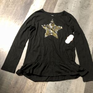New girls Wonder Nation size 10/12 Large black long sleeve tunic top w/ sequins changing flip star on the front for Sale in Pinellas Park, FL