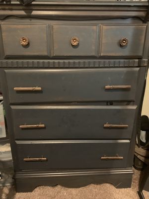 Antique Dresser Painted Charcoal Grey w/ Brass Handles for Sale in Anchorage, AK