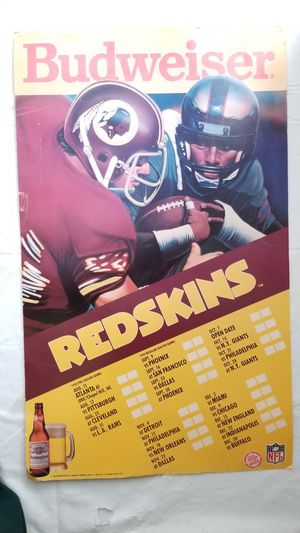 1990 Budweiser Redskins Poster for Sale in Bowie, MD
