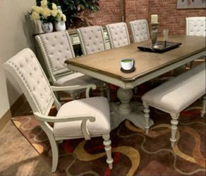 🎁BRAND NEW 🎗Bardot White/Brown Extendable Dining Set for Sale in Laurel,  MD