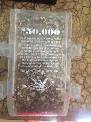 Deminted dollars $50,000 acrylic sculpture | Instant Fortunes, Inc. | for Sale in San Diego, CA