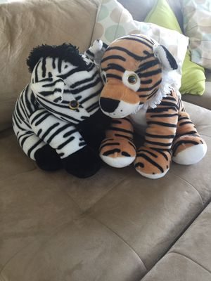 Wildlife Plush TIGER & ZEBRA Stuffed Animals for Sale in Orlando, FL