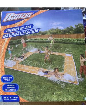 14 FOOT BASEBALL WATER SLIDE - BETTER THAN A POOL - NEW BANZAI GRAND SLAM BASEBALL WATER SLIDE BAT & BALL INCL FACTORY SEALED. Condition is New in bo for Sale in Cherry Hill, NJ