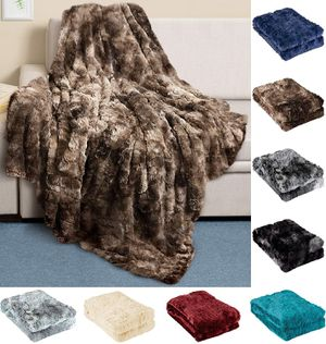 Luxury Faux Fur Throw Blanket - Ultra Soft and Fluffy - Plush for Couch Bed and Living Room - Fall Winter and Spring - 50x65 (Full Size) Brown for Sale in Bellerose, NY