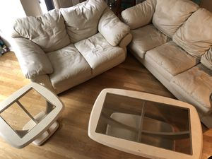 Leather couches set with coffee and end table for Sale in Hoboken, NJ