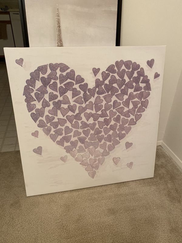 Nice heart art frame light purple color