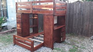 Solid wood twin over twin high-end bunk bed with ladder and desk good condition asking 580 free delivery or pickup for Sale in Houston, TX