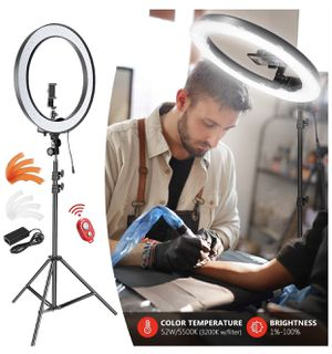 LED Ring Light with 6.6ft Stand for Phone and Camera, 18 Inch / 19.1 Inch Outdoor 55W 5500K / 3200K Dimmable with Filters Carrying Bag for YouTube Vl for Sale in Union City, NJ