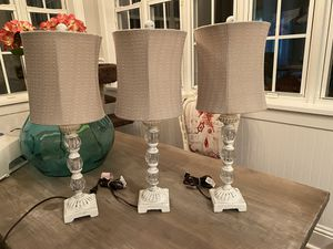 Distressed Shabby Chic Lamps x 3 for Sale in Vero Beach, FL