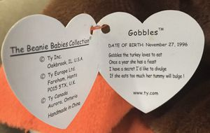 TY Original Beanie Baby Turkey (Retired) 1996 RARE for Sale in Belleville, NJ