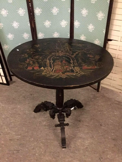 Gorgeous Antique Hand Carved and Painted Chinese Flip Top Table - Delivery Available for Sale in Tacoma,  WA