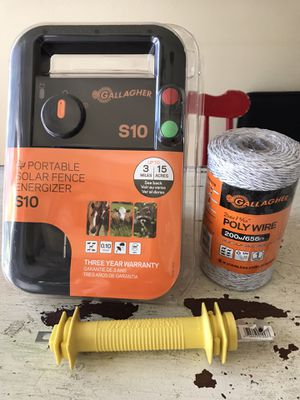 Solar electric fence, wire and connector for Sale in West Linn, OR