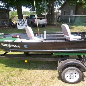 12' aluminum Jon boat with trailer motor and Everything in the pictures except for fishing Poles for Sale in Newburgh Heights, OH