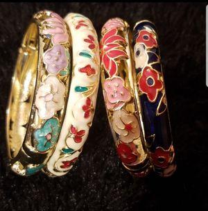 Vintage Cloisonne Enamel Flower Bangle Bracelet for Sale in Atlanta, GA