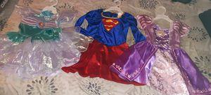 Lot of 3 Dress Up Dresses Rapunzel Satin Dress Super Girl & Little Mermaid 2-4T for Sale in Oakbrook Terrace, IL
