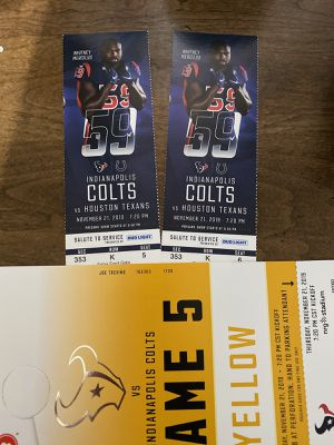 Texans vs colts club level tickets with parking pass for Sale in Houston, TX