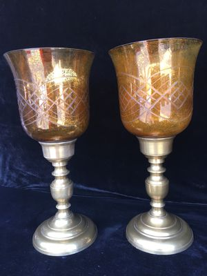 Solid brass & engraved glass candle holders, H16 x Wbase 6.5 x Wtop7.5 inch for Sale in Sun Lakes, AZ