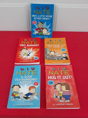 """SET OF 5 """"BIG NATE"""" KIDS READING BOOKS (READ ONCE GENTLY USED) ($25 FOR ALL 5 BOOKS) for Sale in Corona, CA"""