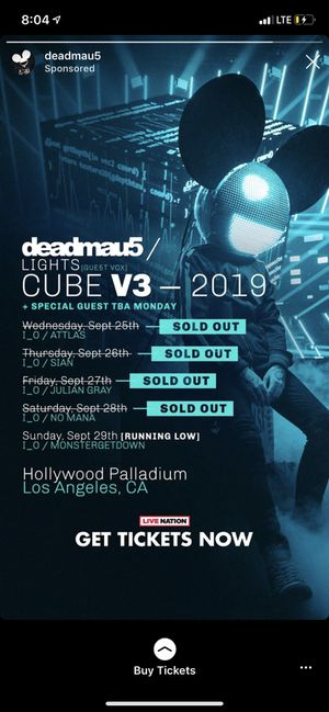 deadmau5 tickets @ Hollywood Palladium Friday 9/27 for Sale in Riverside, CA