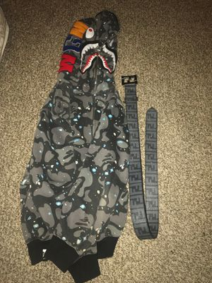 Grey fendi belt and grey bape for Sale in Independence, OH