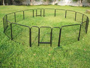New in box 24 inch tall x 32 inches wide each panel x 16 panels exercise playpen fence safety gate dog cage crate kennel perrera cerca for Sale in West Covina, CA