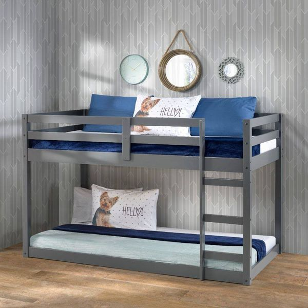 GRAY FINISH TWIN SIZE BUNK OR LOFT BED / LITERA CAMA