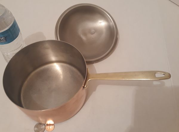 """Vintage Copper and Brass Metal Pot, Made in USA, Paul Revere, Quality, Heavy Duty, 12"""" Long, 6 1/2"""" x 3 1/2"""" Pot Size, Kitchen Decor, Hanging Decor"""