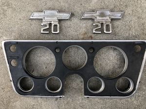 Truck parts c10 c20 Chevy dash cluster cover and Chevy c20 emblems for Sale in Culver City, CA