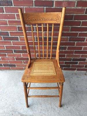 Antique Oak Spindle Back Chair with Cane Seat for Sale in Seattle, WA