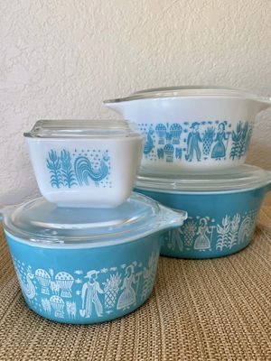 Pyrex Turquoise Amish Butterprint set for Sale in Pasadena, CA