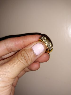 18 K Yellow Gold Plated Simulant Diamond Wedding Ring, Size 6. for Sale in Dallas, TX