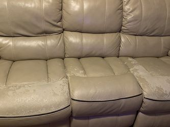 Free Power Reclining Sofa, Works Fine, Just Peeling Off for Sale in Frisco,  TX