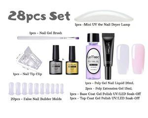28pcs SET - LeMooc 20ml Poly UV Gel Liquid Slip Solution Nail Tips Quick Building Poly Extension Gel Acrylic Builder UV Gel Nail Art Gel Kit for Sale in Stockton, CA
