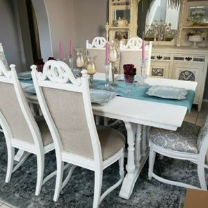 Shabby Chic Antique Dining Room Set Table And Chairs for Sale in Riverside, CA