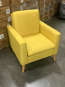 Brand new single seat sofa chair fabric soft cushion armchair for living room bedroom chair yellow for Sale in Whittier,  CA