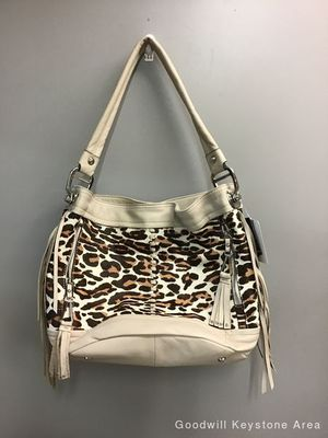 """B. Makowsky Bucket New with Tags Leapord Print A3959 Ivory Leather Hobo Bag Measurements: 16""""L x 7""""W x 11.5""""H for Sale in Pittsburgh, PA"""