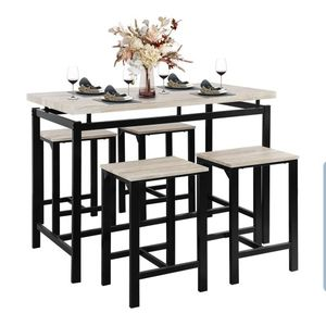 DSDNOO 5 Pcs Dining Table Set, Counter Height Dining Table Set for 4, Wooden Bar Height Dining Table & Bar Stools, Bar Table and Chairs Set, Kitchen D for Sale in La Puente, CA