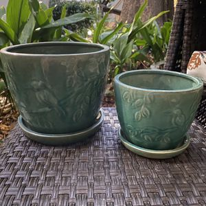 Matching Pair Of Green Bird Terracotta Glazed Pots for Sale in Santa Monica, CA