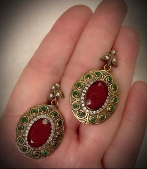 PIGEON BLOOD RED RUBY EMERALD EARRINGS Solid 925 Sterling Silver/Gold WOW! Brilliant Facet Oval/Round Cut Gemstones, Diamond Topaz M5385 for Sale in San Diego, CA