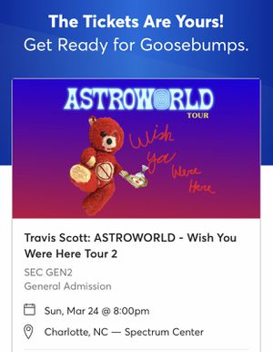 2 Travis Scott Moshpit Tickets for Sale in Raleigh, NC