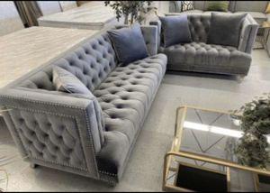 Furniture mattress- Sofa + loveseat 🔥🔥( grey tufted velvet)🔥🔥 for Sale in North Highlands, CA