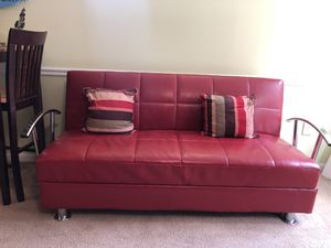 Red Leather Futon for Sale in Laurel, MD