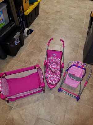 Baby doll stroller, crib and swing for Sale in Linthicum Heights, MD