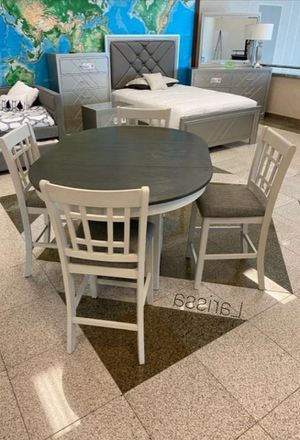 🍻39 DOWN🍻Brand New 5-Piece Chalk/Gray Extandable Counter Height Set.[ Table & 4 Chairs ] for Sale in Houston, TX