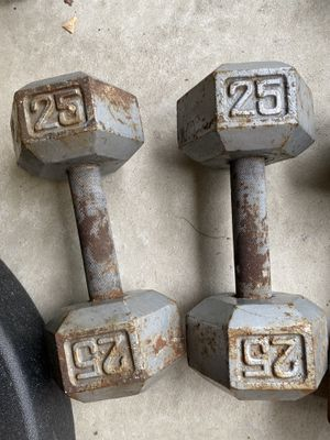 Pair of 25 pound dumbbells slightly wider grip for Sale in Chicago, IL