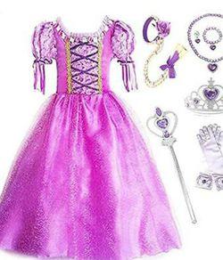 New Princess Rapunzel Purple Princess Party Costume Dress w/ Accessories Size 8 for Sale in Santa Fe Springs,  CA