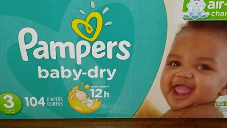 Box pampers baby dry #3 for Sale in Glenarden,  MD