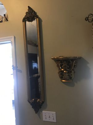 Two gold beautiful elegant mirrors and two wall shelves gold too. for Sale in Winter Park, FL
