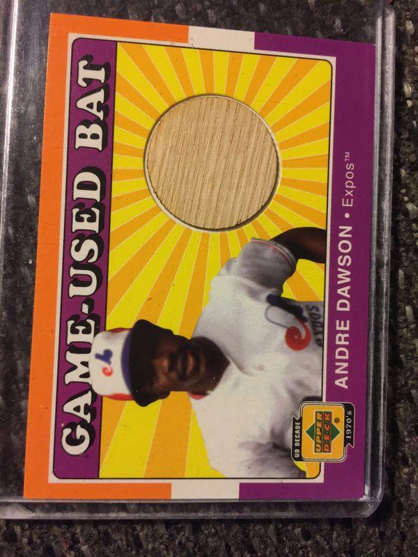 9 HOF Andre Dawson's/game used bat card
